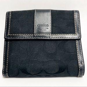 COACH black canvas & leather trim wallet